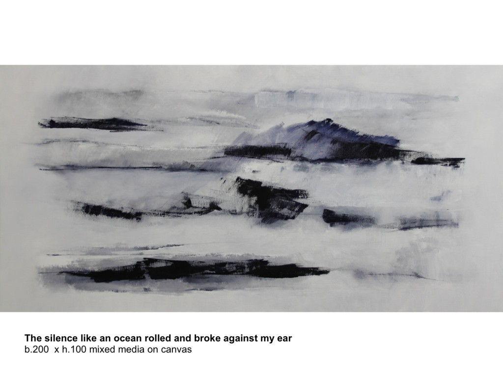 George de Decker. The Silence Like an Ocean Rolled and Broke Against my Ear (44), gemengde techniek op linnen, 100 x 120 cm, 2014