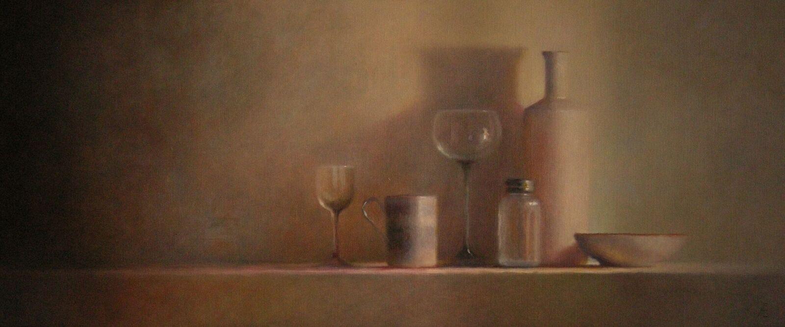 (223) Glas en porselein stilleven, olieverf op linnen, 50 x 120cm_preview