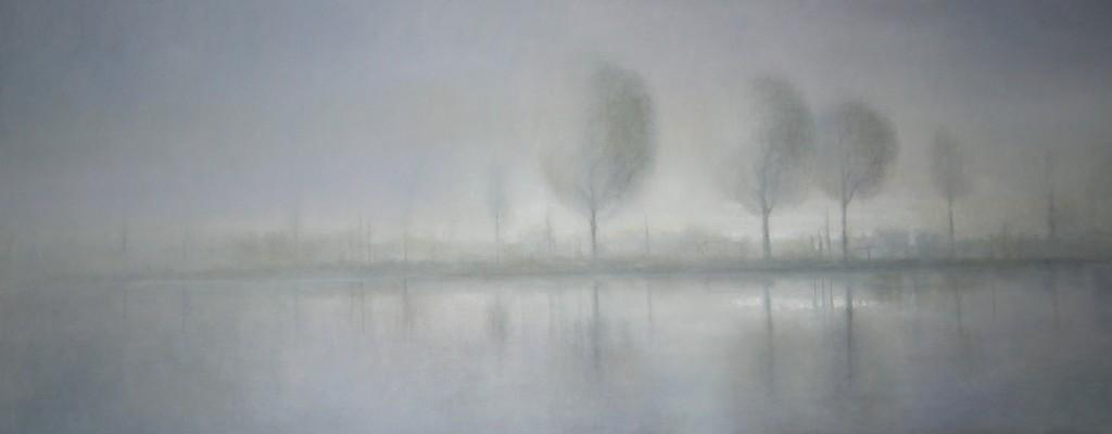 Aan de Amstel V (53), olieverf op linnen, 70 x 170 cm