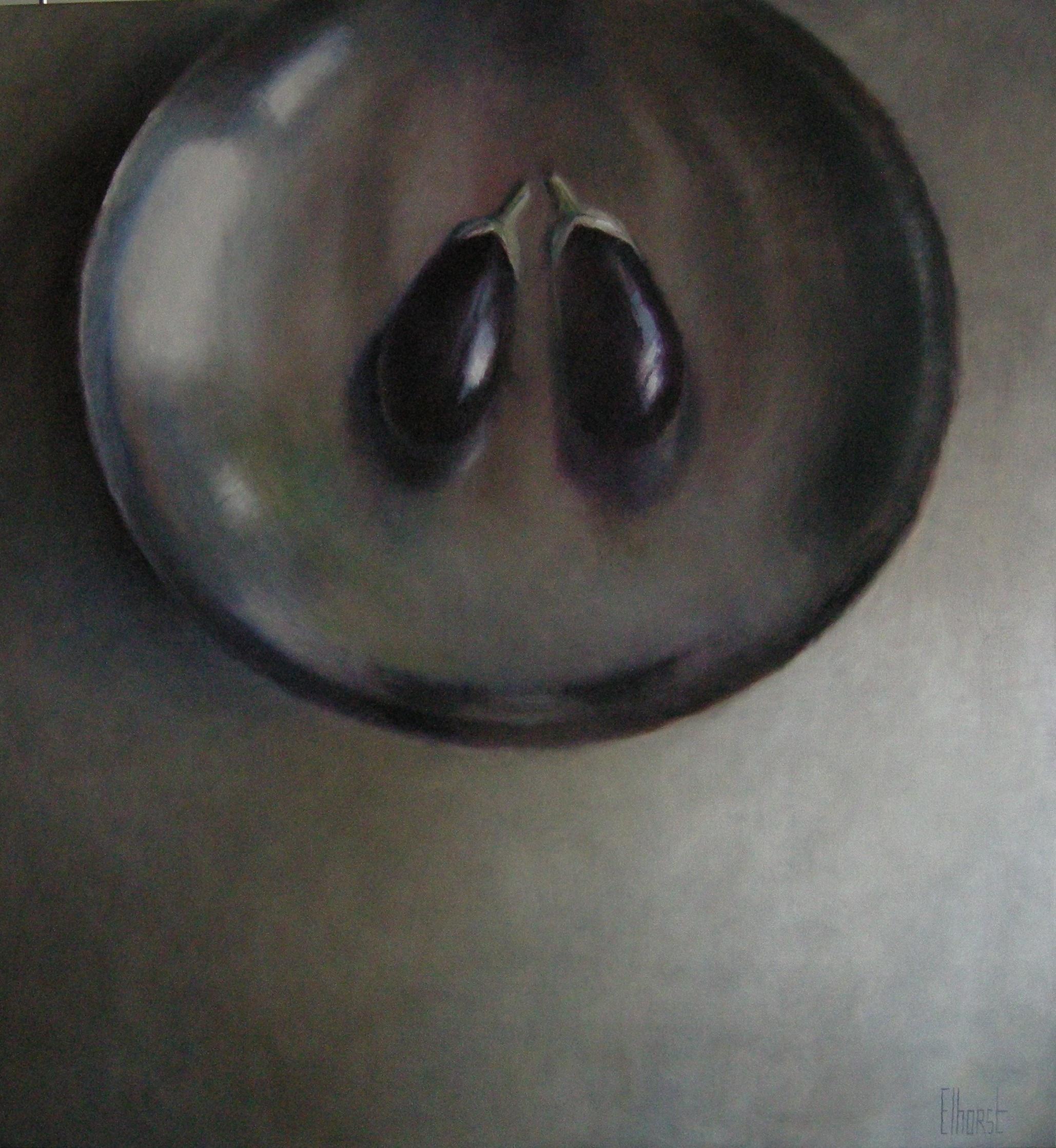 "Anneke Elhorst, ""Aubergines"", acryl - olieverf op linnen, 150x140cm"
