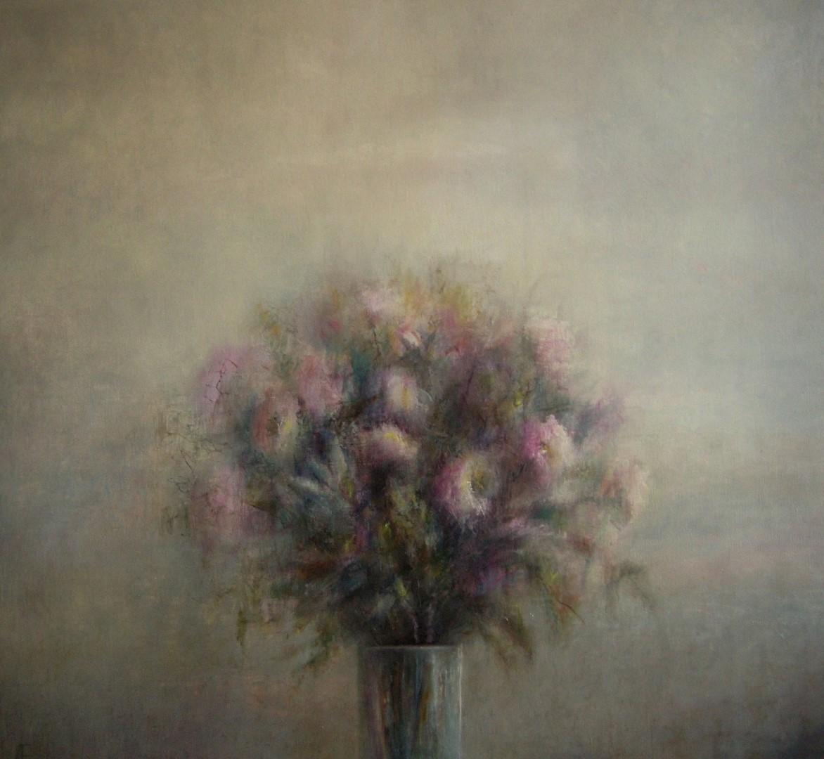 """""""Bloemen"""" (217), olieverf op linnen, 110 x 120cm"""