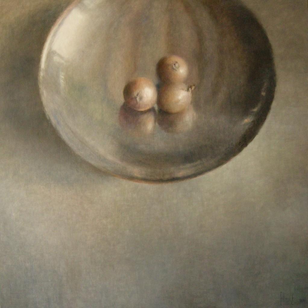 Drie Uien (50), olieverf op linnen, 150 x 150 cm
