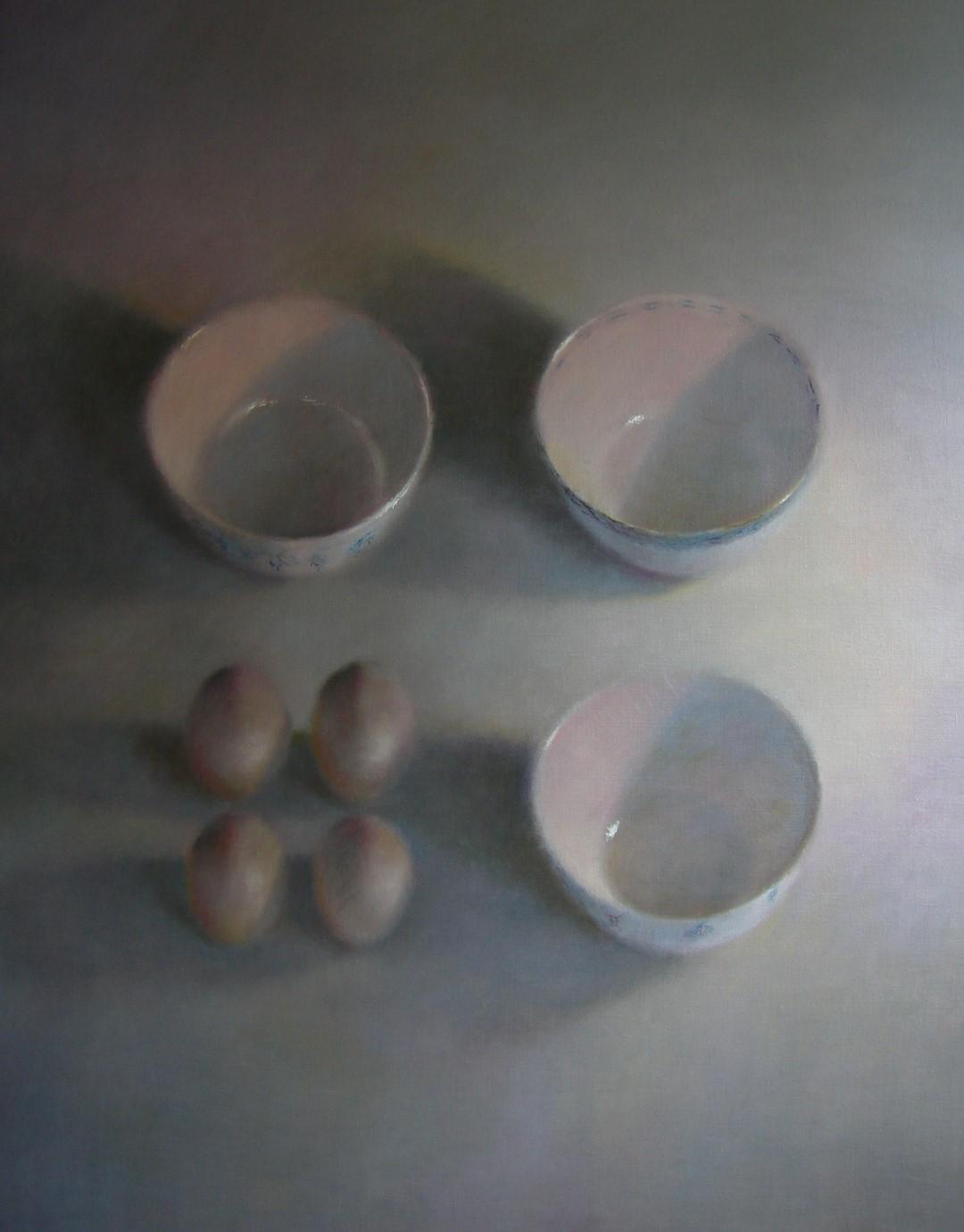 """Drie kommen, vier eieren"" (86), olieverf op linnen, 140 x 110cm"