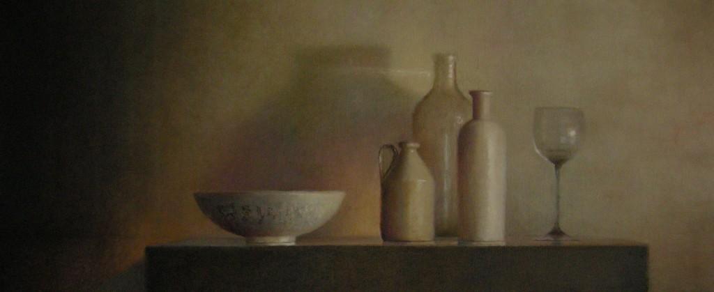 Glas, kom, flessen, olieverf op linnen, 50x120cm