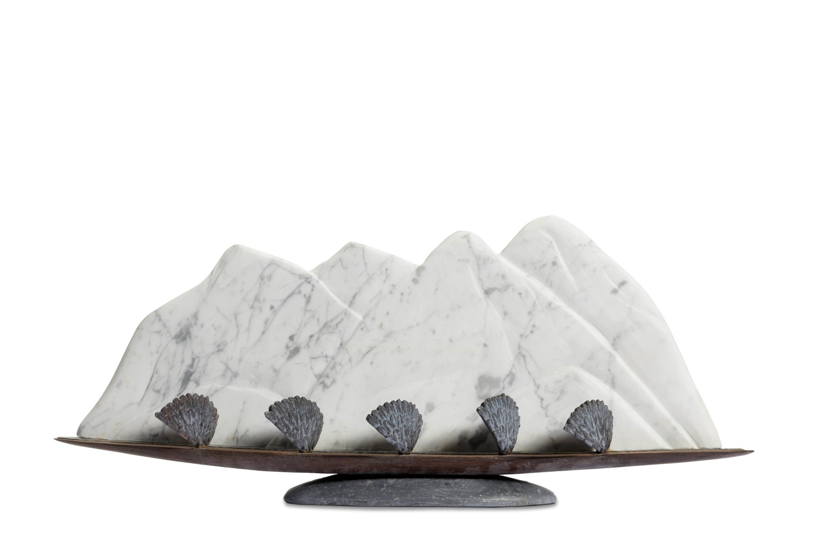 Moving Mountains, marmer, lood, azobeen, hardsteen, h30x70x20cm, €4.200