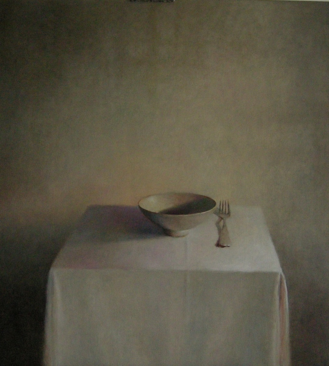 """Kom met vork"" (302), olieverf op linnen, 110 x 100cm"