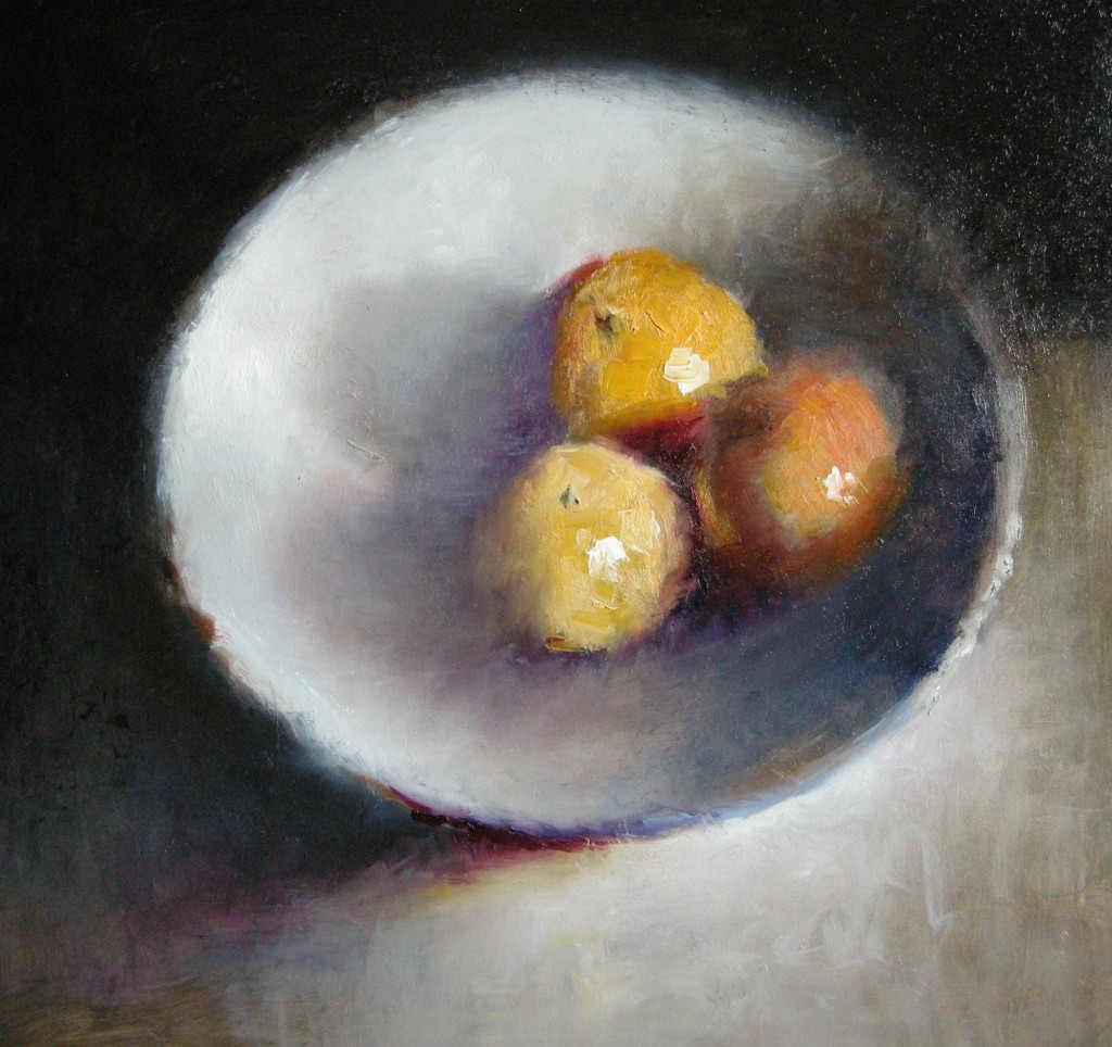 Mandarijnen, olieverf op paneel, 28 x 30 cm