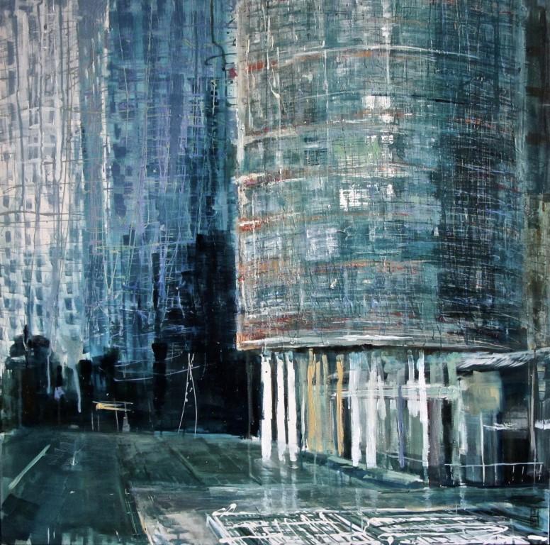 """""""Rotterdam, Kop van Zuid"""", 100x100cm, gemengde techniek op doek"""
