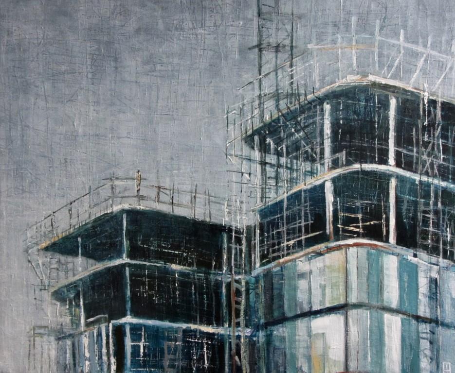 """Stadhuis Almelo"", 100x120cm, gemengde techniek op doek"